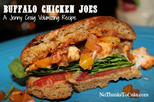 Jenny Volumizing:  Buffalo Chicken Joes | No Thanks to Cake - - One of my favorite recipe creations made with @Jenny Craig cuisine!  Yum!