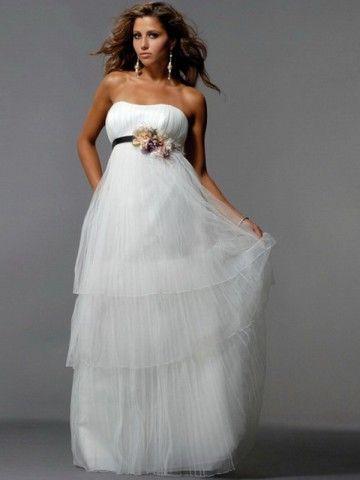 2012 Style A-line Strapless Hand-Made Flower Sleeveless Floor-length Chiffon White Prom Dress / Evening Dress (SZ0254075 )