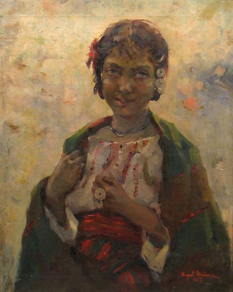 Ţiganca (Gypsy), 1919, by Romanian painter Aurel Baesu. Just a rather grubby little girl on the verge of womanhood, with an expression that's a little too worldly for a child. I imagine she had to grow up very fast.