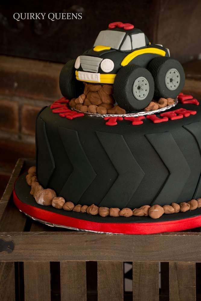 Awesome cake at a monster truck party birthday party! See more party ideas at CatchMyParty.com!