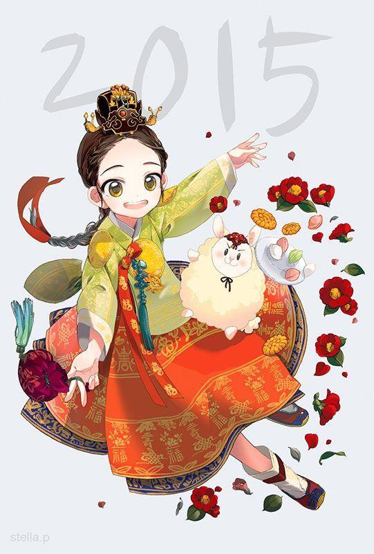 한복 Hanbok : Korean traditional clothes[dress] | A starlit night - 2015년 연하장