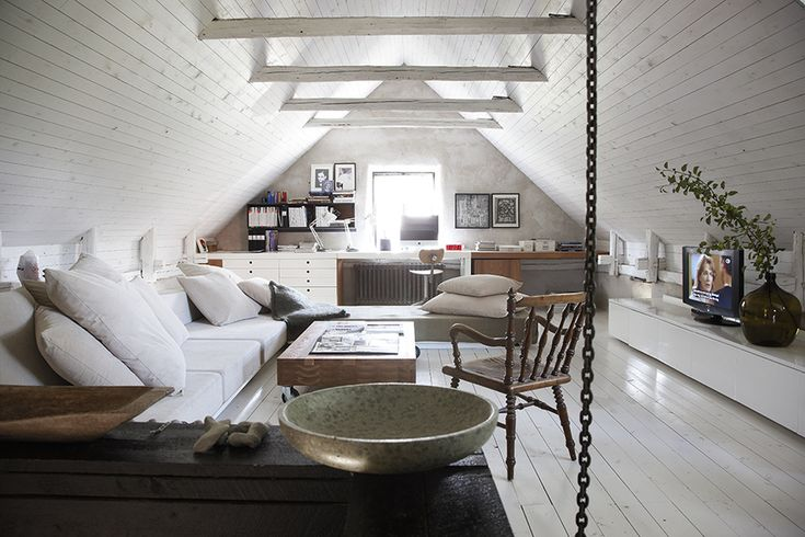 Attic living room with industrial features