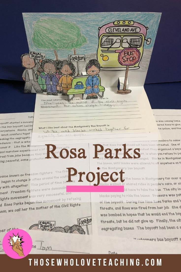 Rosa Parks Lesson And Pop Up Book Rosa Parks Activities Teaching Fun Rosa Parks