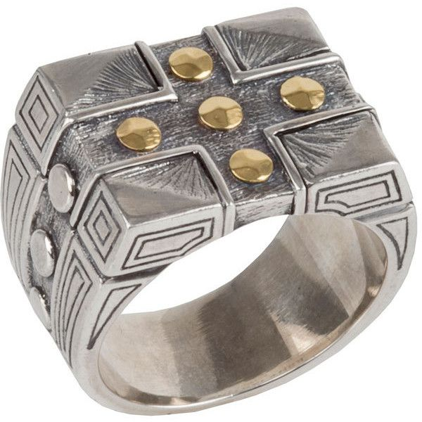 Konstantino Men's Sterling Silver & 18K Gold Cross Signet Ring (€545) ❤ liked on Polyvore featuring men's fashion, men's jewelry, men's rings, mens rings, konstantino mens rings, mens sterling silver signet rings, mens watches jewelry and mens yellow gold rings