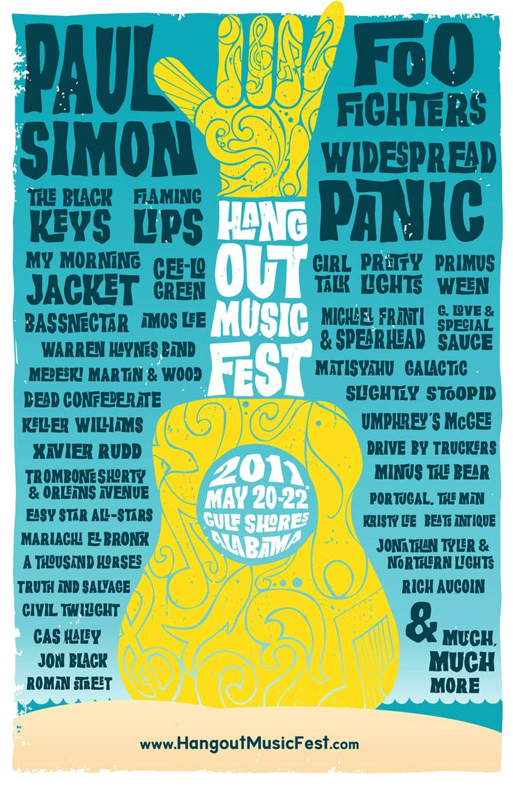 Hang Out Music Fest 2011.  I think this poster is amazing.  The bright blue really makes the yellow pop right out.  The guitar serves as a break making this poster very symmetrical. I like that even the guitar is created out of funky swooshy text.