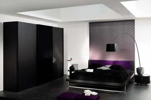 black bedroom decor with a hint of deep purple
