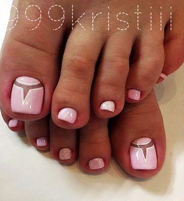 Pink Toe Nail Art Negativ space...