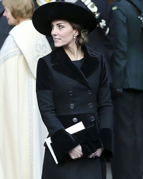 Catherine today, 28th November 2016, at the memorial service in honour of the late Duke of Westminster.