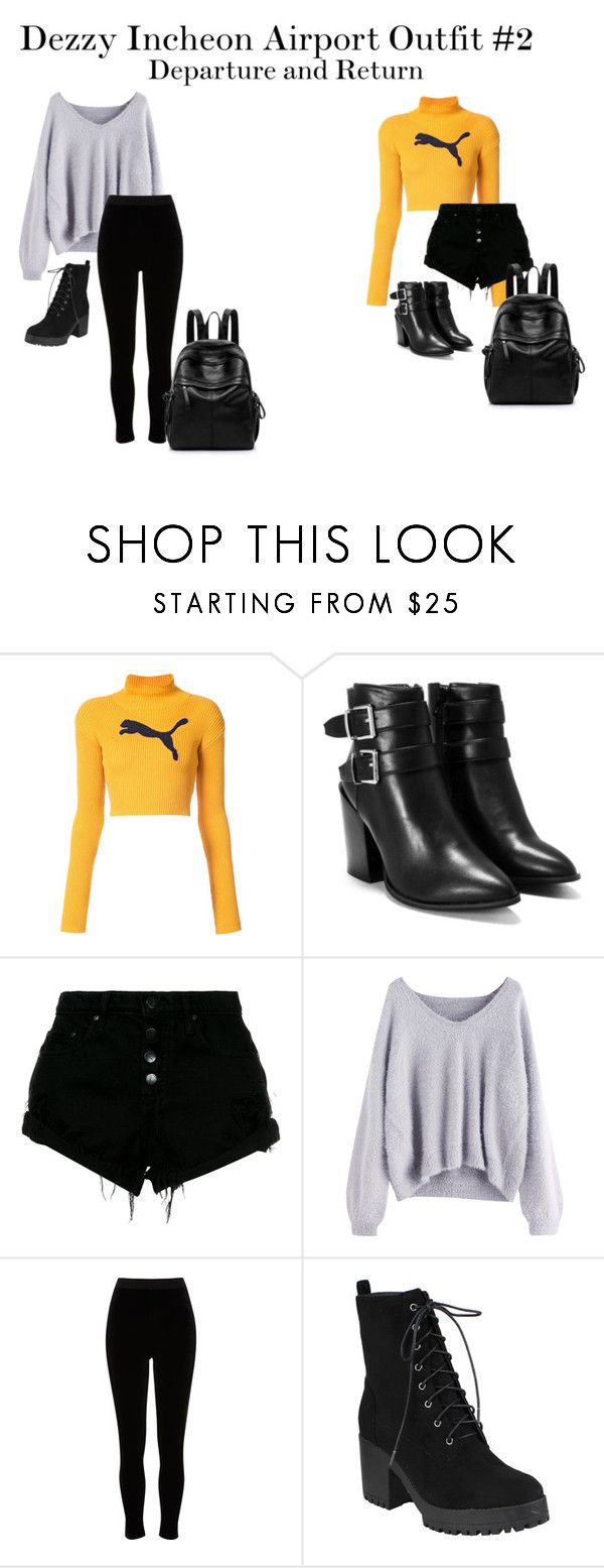 """Dezzy Incheon Airport Outfit #2"" by zhangmaryliu2002 on Polyvore featuring Puma, Nasty Gal, Nobody Denim and River Island"
