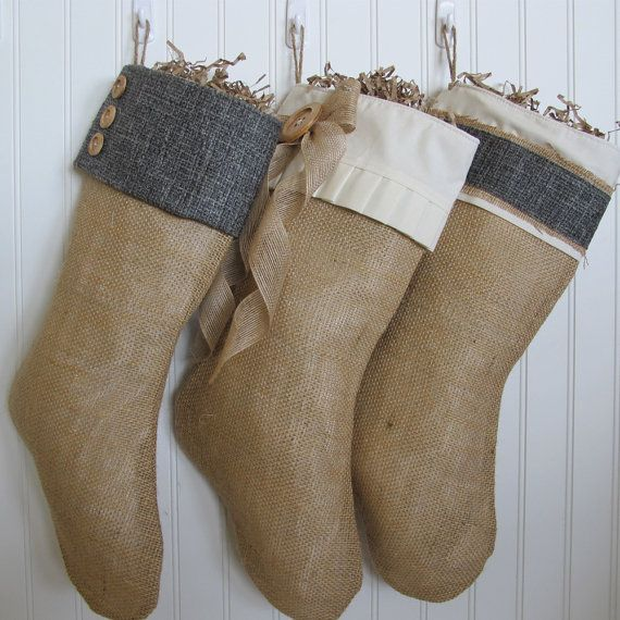Dark blue shabby chic Christmas Stocking with 3 by TurnbowDesigns, $30.00. Love these stockings