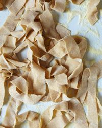 Fresh Pappardelle   The chewy texture and wide ribbon shape of pappardelle make it an ideal match for hearty sauces.