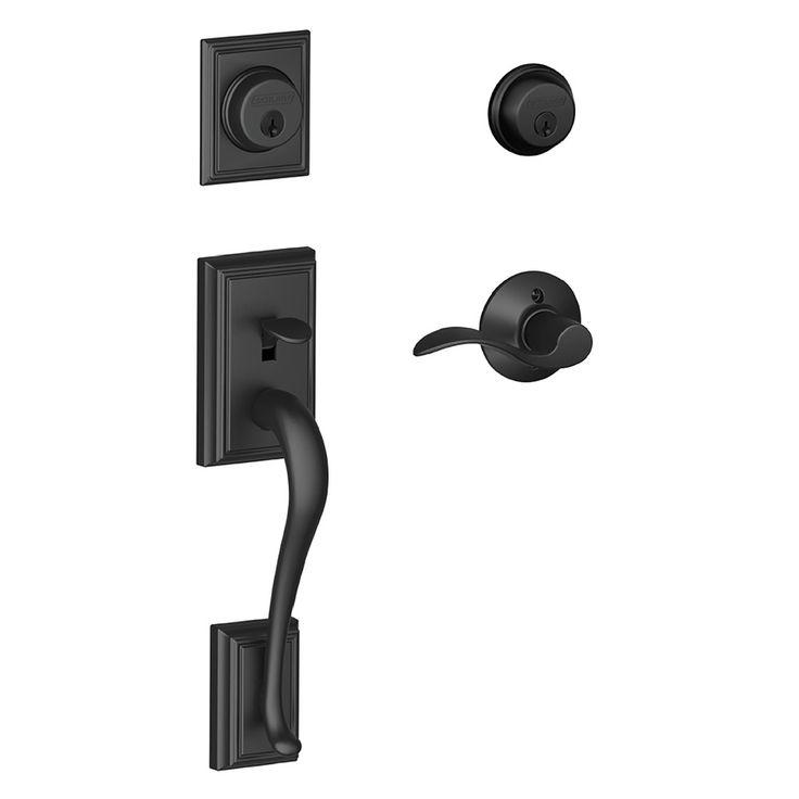 Schlage F Addison x Accent Lever Matte Black Dual-Lock Keyed Entry Door Handleset
