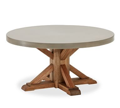 Abbott round coffee table concrete for Pottery barn poker table