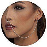 Women 's Septum Ring Non Pierced Stud Nose to Ear Chain Earrings Body Piercing Jewelry JDXN (Style 2 Silver)  by Yiwu Chunxin NetWork Technolgoy Co.,Ltd  $8.99