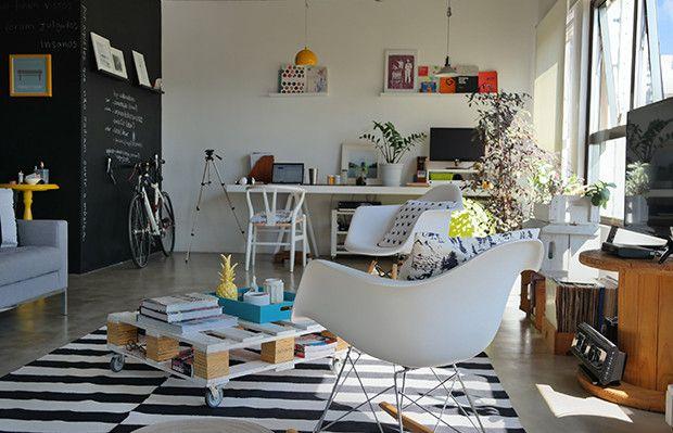 decoração home office kalina e marcos com tijolo