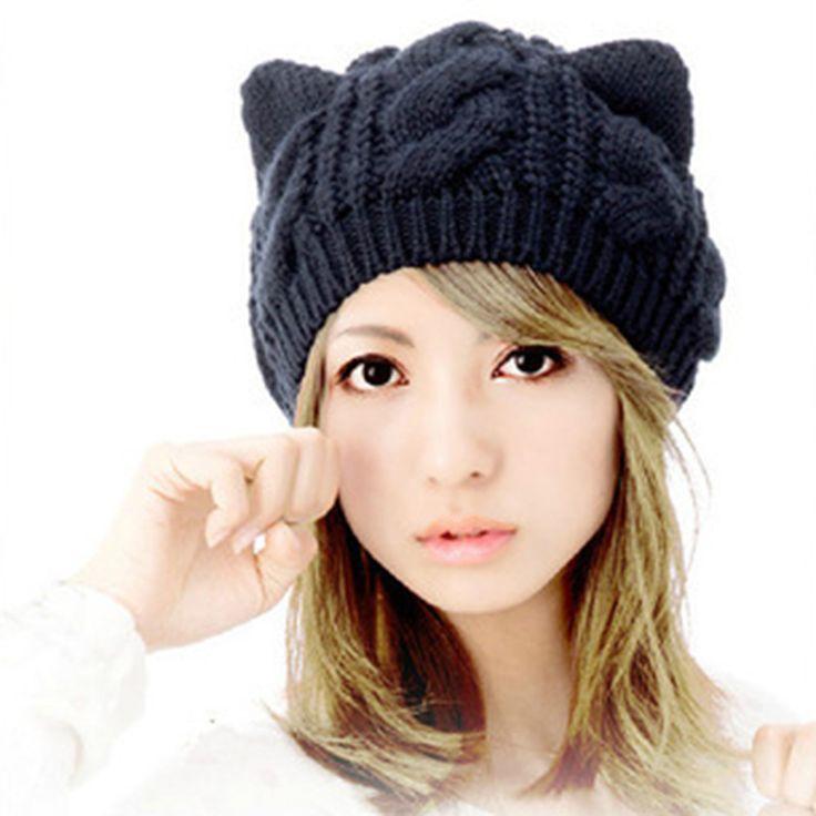 New Fashion Women's Autumn Caps Cat Ear Cute Knitted Hip Hop Casual Warm Men Winter Hat Female Skullies Beanies #CAP6A39