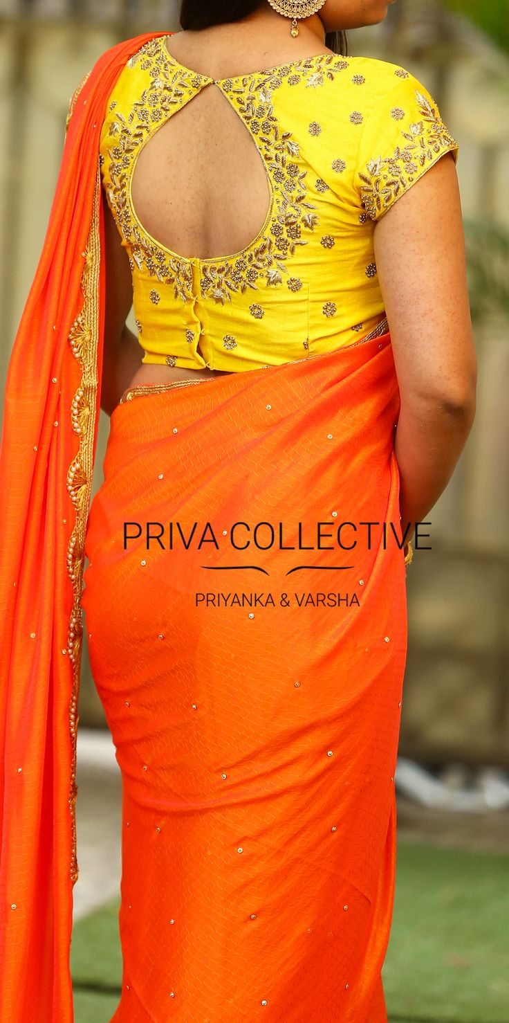 PV 3567 : Orange and YellowPrice : 5900Rs. <br> Shine bright in this orange stone studded chiffon sari finished with pearl and cut work zari border.Unstitched blouse piece - Yellow beads hand worked blouse piece as in the picture For Order 23 November 2017