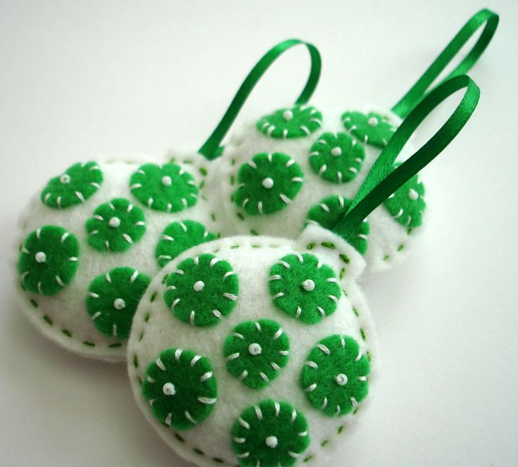 set of 3 Christmas felt ornaments - peppermint green and white -