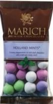 A bulk box of 12 bags of Marich Holland Mints.  Delicious Peppermints in a rich dark chocolate minty shell.  Each bag of Marich Holland Mints weighs approximately 65 grams.