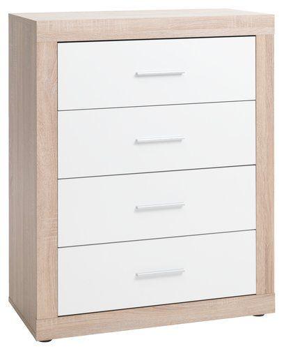 4-συρτ. Συρταριέρα FAVRBO δρυς/λευκό | JYSK