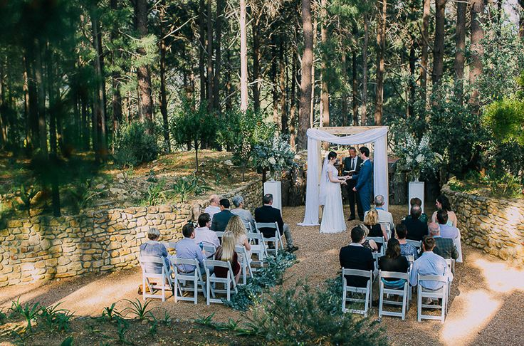 Lalapanzi Lodge makes a great intimate forest wedding venue. Featured on my list of favourite wedding venues >> http://michelledt.com/wedding-venues-2/  Outdoor forest ceremony under the trees.