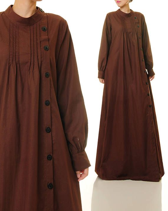 Brown Linen Dress Shirtdress Abaya Maxi Dress Brown Maxi