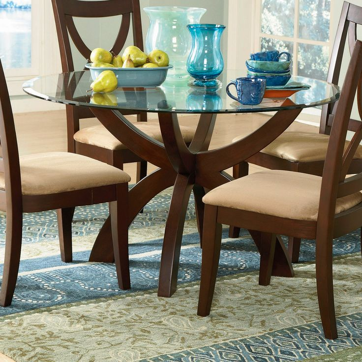 Lowest Price Online On All Trent Home Stardust Espresso 48 Inch Round Glass  Top Dining Table   5312