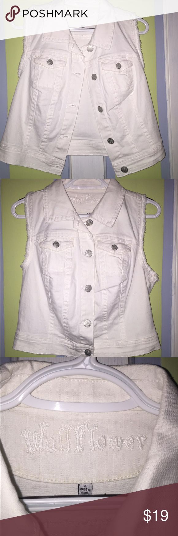 White Jean Vest Cute white jean vest! It is a little shorter 😊 looks great with a long sleeve dress or tank top! Size large Wallflower Jackets & Coats Vests