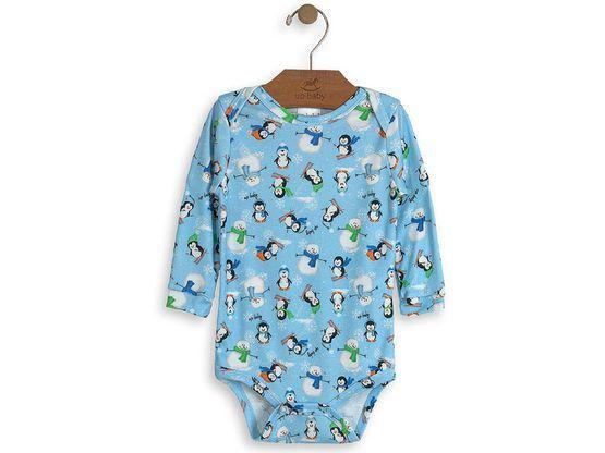 845f4b8445 Roupa Infantil Body Snow Penguin Up Baby Bebe manga longa é confeccionado  em suedine