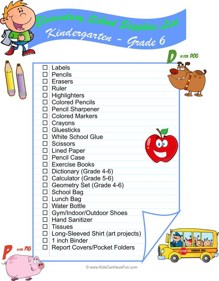 Mejores 7 imgenes de school labels en pinterest escolares elementary school k 6 supplies list to help get the kids ready for hojas de trabajo de la fandeluxe Images