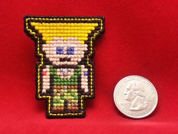 Guile Street Fighter Handmade CrossStitch by NerdyCatCrafts, $29.99