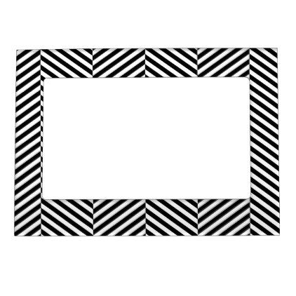 Modern Black And White Chevron Stripes Pattern Magnetic Frame - black and white gifts unique special b&w style