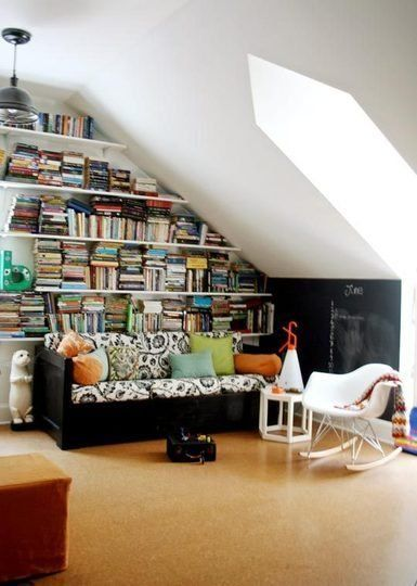 Dream Spaces: Attics & Vaulted Ceilings shelving ideas for slanted wall
