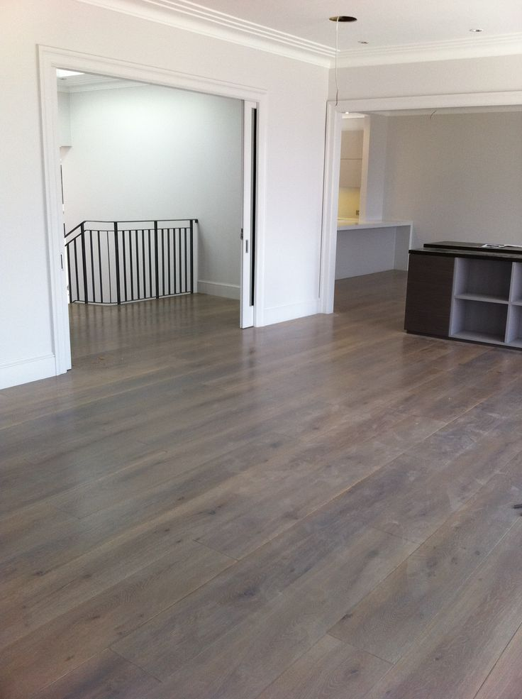 American White Oak Solid Floor Grey Stain Refinishing