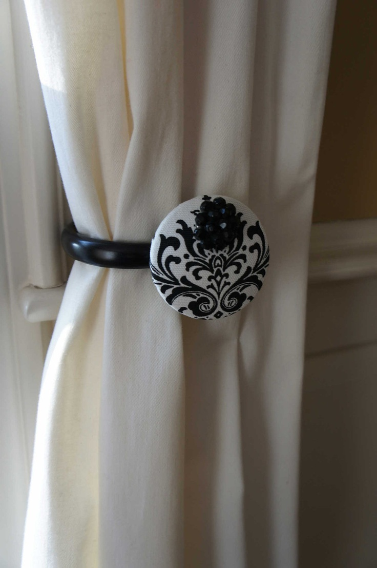 Damask bedroom curtains - Black Damask Curtain Tie Backs