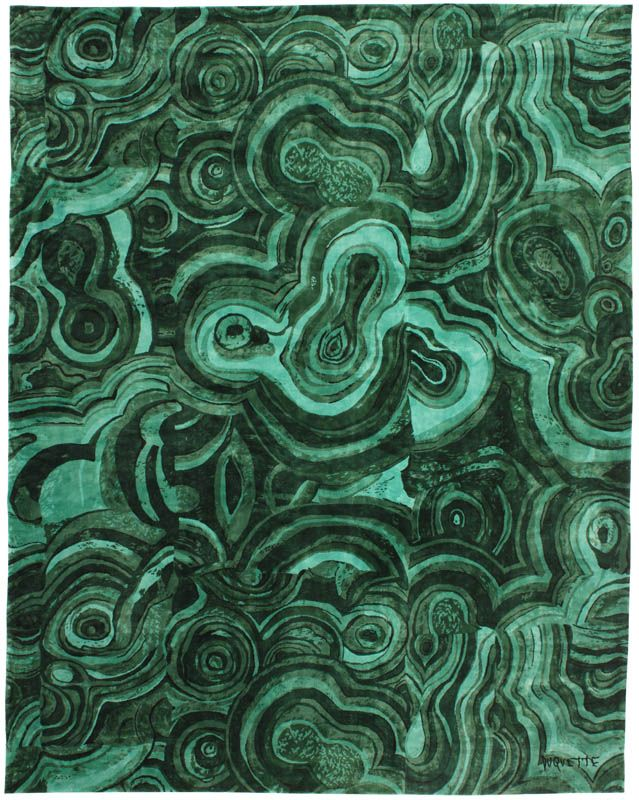 Tony Duquette by Roubini: gorgeous malachite pattern rug