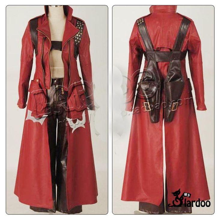 Devil May Cry 3 Dante Cosplay de cuero del traje de Halloween para hombre partido personalizada