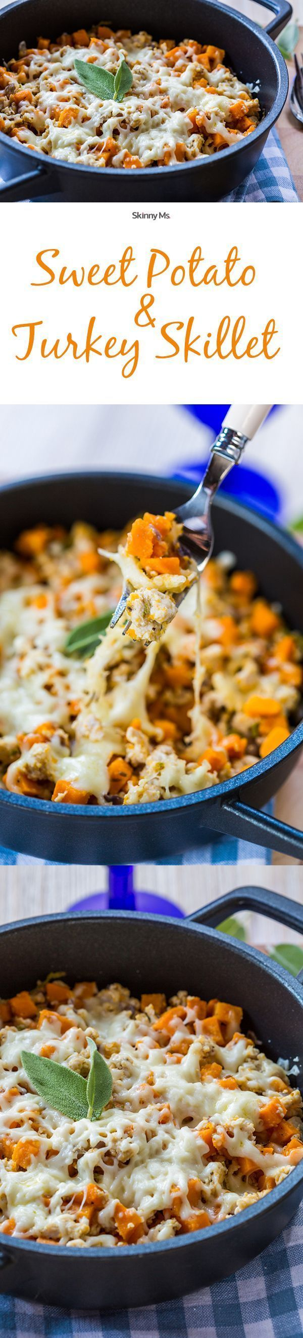 Super easy superfoods! This is the Skinny Ms. Sweet Potato & Turkey Skillet. This is so awesome for leftovers after Thanksgiving!