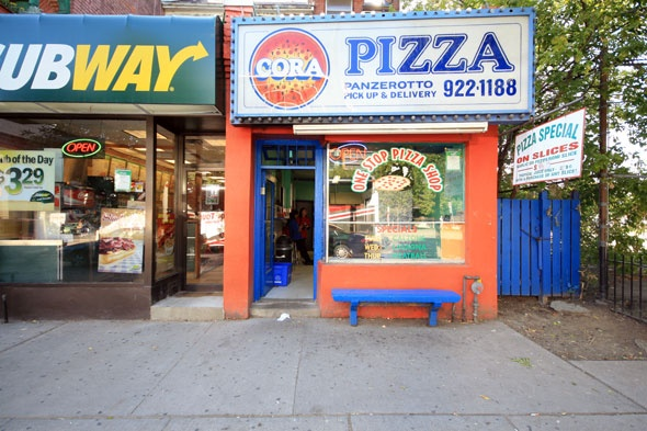 Cora's Pizza (656A Spadina Avenue, Toronto. Not sure if this belongs to my Places or Food board :) Used to get a slice here many a night when I stayed in Toronto in the 1990's. Their garlic pizza.... mmmm yummy!