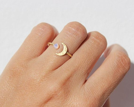 Unique Moon Ring, Opal Ring, Stacking Rings, Boho Ring, Moonstone Ring, Moon Ring, Gift, Gold Rings, Best Friend Gift