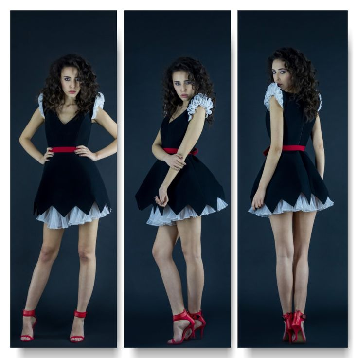 Black neoprene dress with silk taffeta sleeves and underpinnings  Price: 600 RON