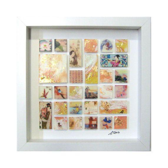 Encaustic Painting - Mosaic in Shadow Box - Peach Orange Cream Gold - One of a Kind