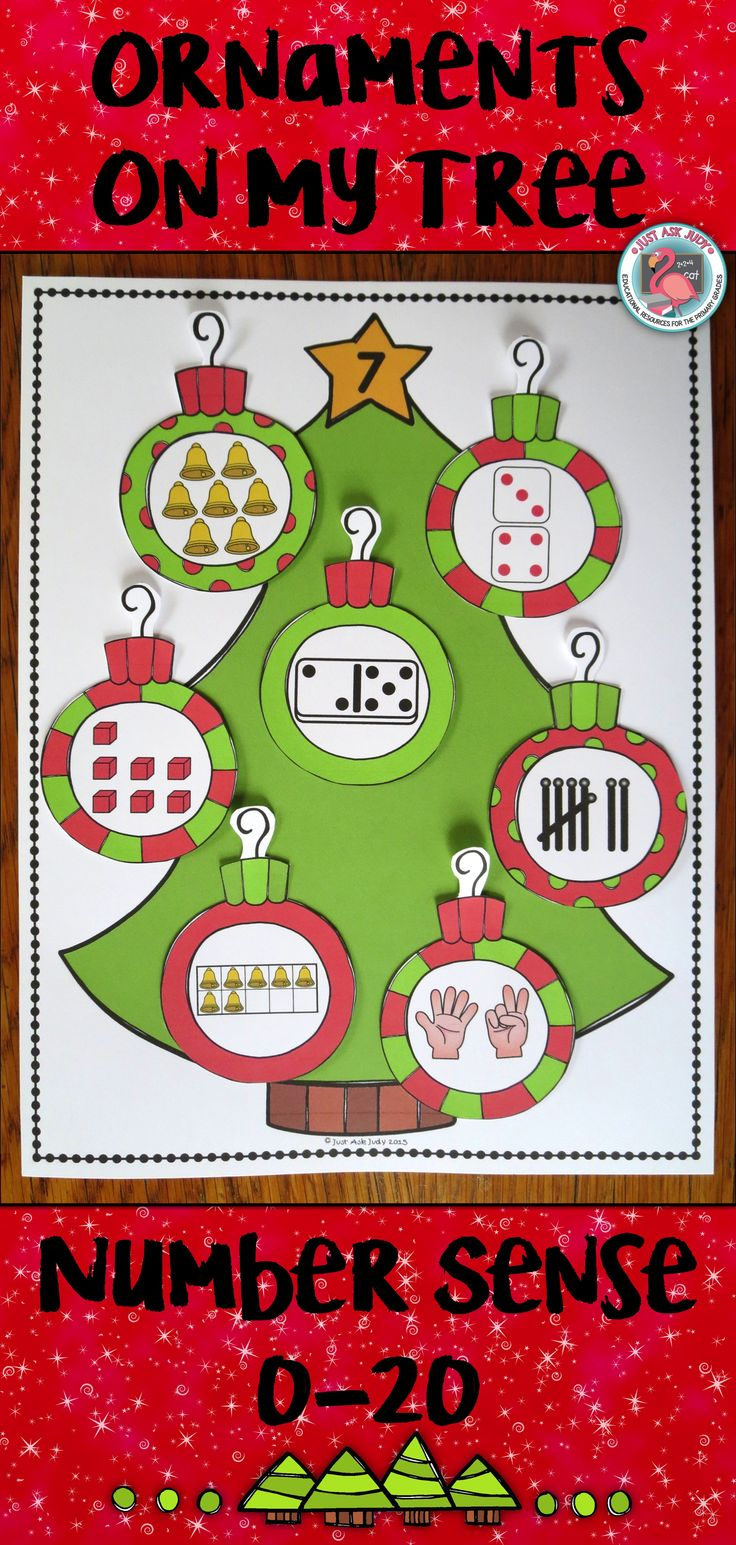 This number sense sorting activity, appropriate for preschool and kindergarten, includes full page size color and black/ white Christmas tree mats with the numbers 0-20, alternate one-fourth page size color and black/ white Christmas tree headers with the numbers 0-20, and color and black/ white ornament cards (9 per page) showing the numbers 0-20 represented in 10 ways. $