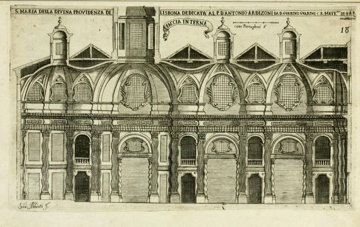 """ITALIAN BAROQUE ARCHITECTURE, Piedmont; section of the Church of S. Maria Divina Providencia, Lisbon (c.1656- collapsed in the earthquake of 1755) by Guarini. """"His early designs for S. Maria Divina Providencia in Lisbon, is an evidence that he studied Borromini works' closely when he was living in Rome."""""""