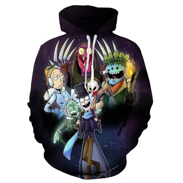 Rick and Morty Spaced Out Allover Print Pullover Hoodie