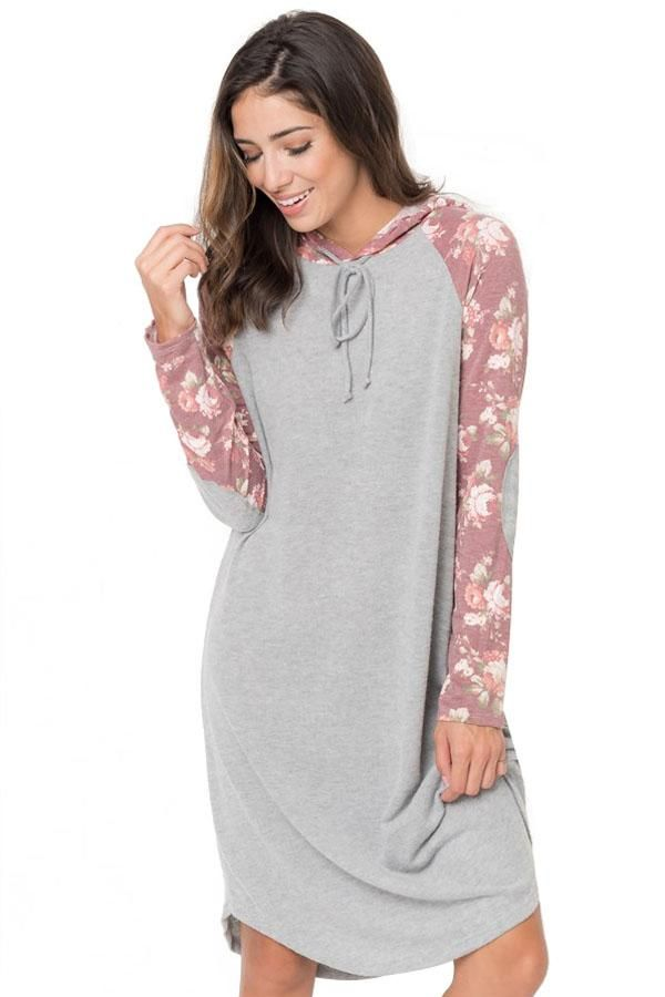 Red Floral Sleeve Shift Hoodie Dress modeshe.com