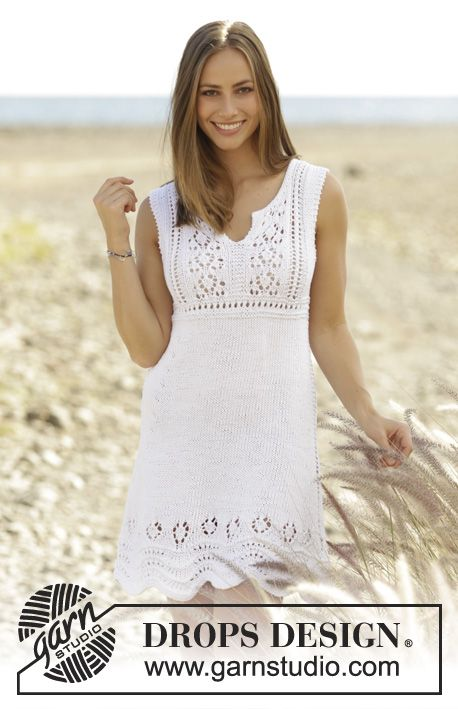 Knitted dress with lace pattern in DROPS Paris. Size: S - XXXL Free pattern by DROPS Design.