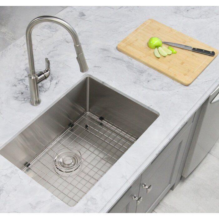 28 L X 18 W Single Basin Dualmount Kitchen Sink With Grid And Basket Strainer Undermount Kitchen Sinks Kitchen Sink Sizes Stainless Steel Farmhouse Sink