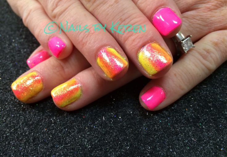 Neon & bling, summer nails 2014