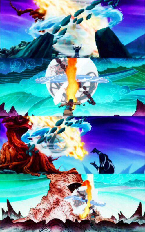 The Legend Of Korra Korra And Wan Capturing Vaatu Aqua Dust